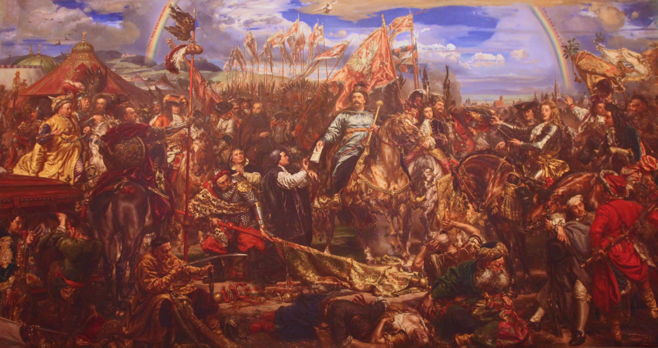 painting by Matejko in Vatican Museums of Jan III Sobieski sending Message  of Victory to the